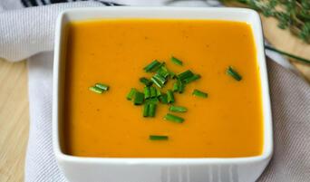 Bowl of butternut squash soup.