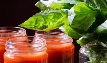Jars of Gjelina's pomodoro sauce.