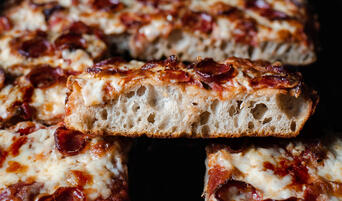 Sliced Sourdough Sicilian Pizza with Pepperoni
